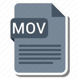 document, extension, file format, folder, image, mov, paper icon
