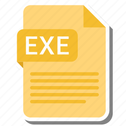 document, exe, extension, file format, folder, image, paper icon