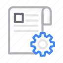 document, gear, page, paper, setting icon