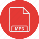 extension, file, format, mp3, type icon