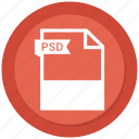 document, extension, file, format, paper, psd icon