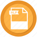 document, extension, file, format, hlp, paper icon