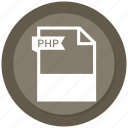 document, extension, file, format, paper, php icon