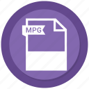 document, extension, file, format, mpg, paper icon