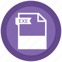 document, exe, extension, file, format, paper icon