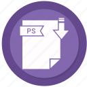 archive, compressed, file, format, ps icon