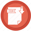 cdr, document, extension, folder, paper icon