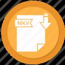 document, extension, folder, mkv, paper icon
