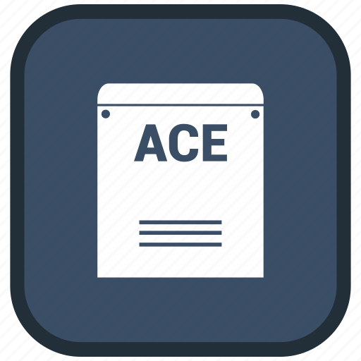 ace, extension, file, format icon