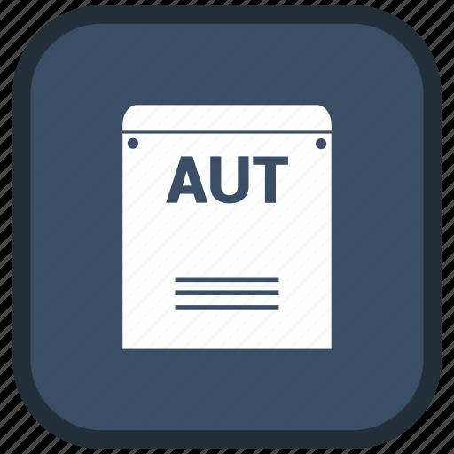 aut, extension, file, format icon
