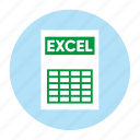 document, excel, extension, file, filetype, format, type icon
