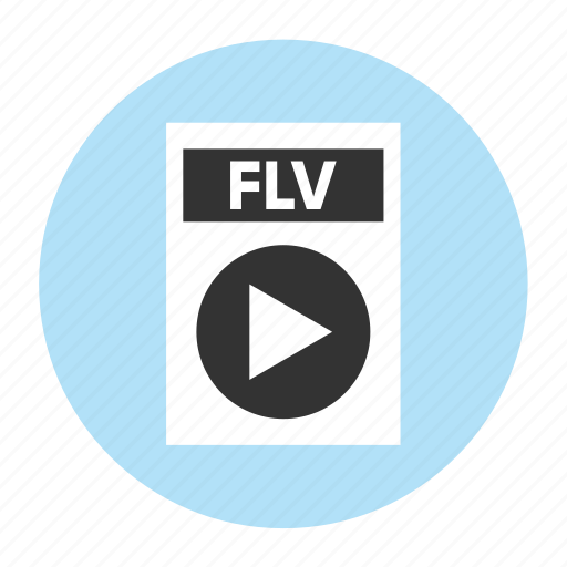 document, extension, file, filetype, flv, format, type icon