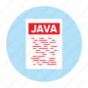 document, extension, file, filetype, format, java, type icon