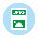 document, extension, file, filetype, format, jpeg, type icon