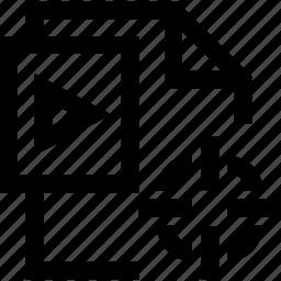 file, format, line, mini, video icon