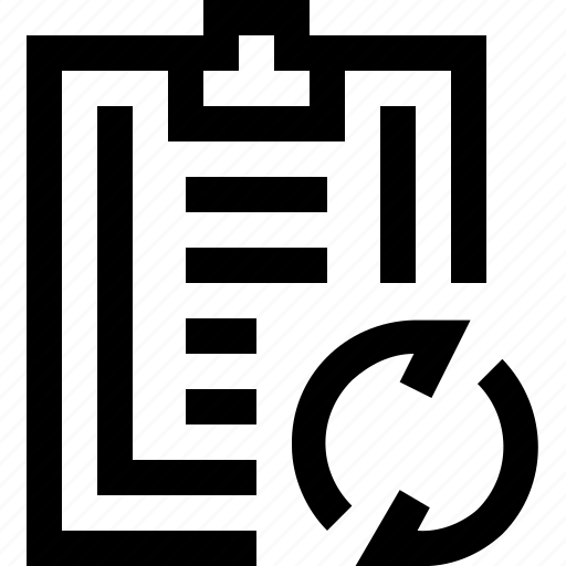 arrow, clipboard, note, paper, refresh, write icon