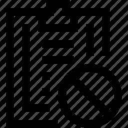 clipboard, cross, forbidden, no, note, paper, write icon