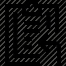 clipboard, enter, left, note, paper, write icon