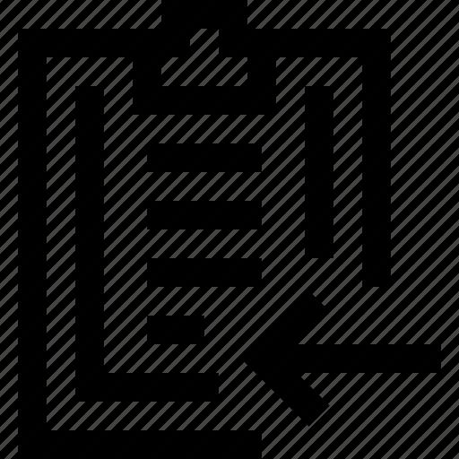 arrow, clipboard, left, note, paper, write icon