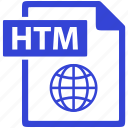 document, extension, file, format, htm icon