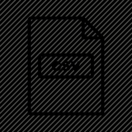 csv, file, file extension, format icon