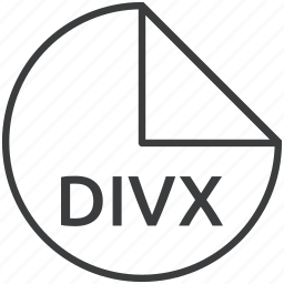 divx, extension, file, format, multimedia icon