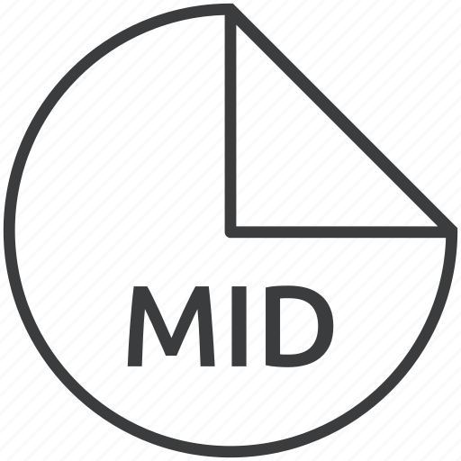 extension, file, format, mid, multimedia icon
