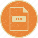 document, file, file extension, file type, flv icon