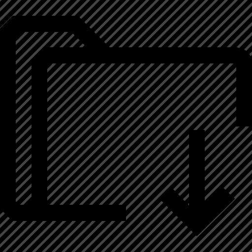 decrease, document, down, file, folder icon