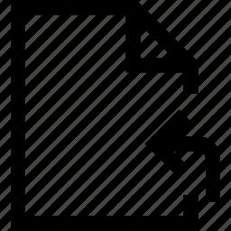 arrow, corner, document, file, folder, left, return icon