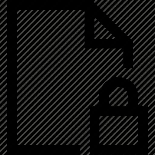 document, file, folder, lock, security icon