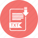 document, extension, file, format, paper, txt, type icon
