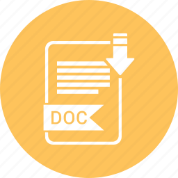 doc, document, extension, file, format, paper, type icon