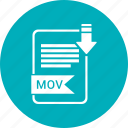 document, extension, folder, mov, paper icon
