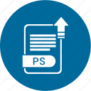 extension, file, format, paper, ps icon