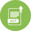 aut, extension, file, format, paper icon
