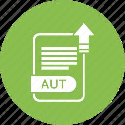aut, extension, file, format, paper icon
