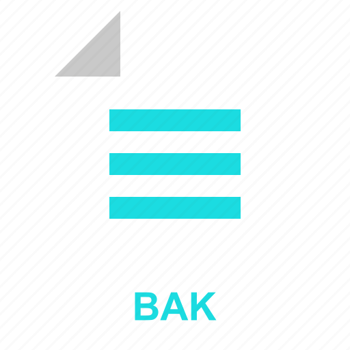 bak, extention, file, format, manager, system, typefile icon
