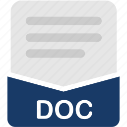 doc, document, extension, file, format, word icon