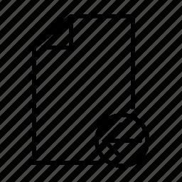 arrow, file, left, move, recieve icon
