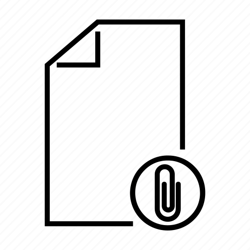 attach, attacment, document, file, paper clip icon