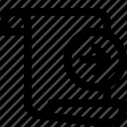 arrow, document, move, move document, next, paper, right icon