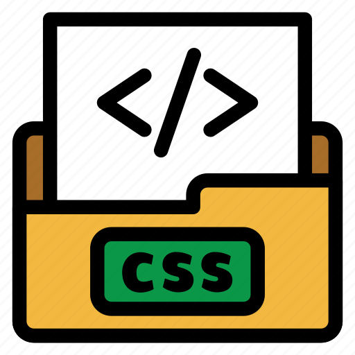 coding file, css, extension, file type, flat color, format, website icon