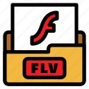 color, extension, file type, flv, flv file, format, movie file icon