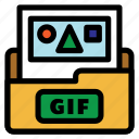 animation image file, extension, extention, file type, flat color, gif, image file icon