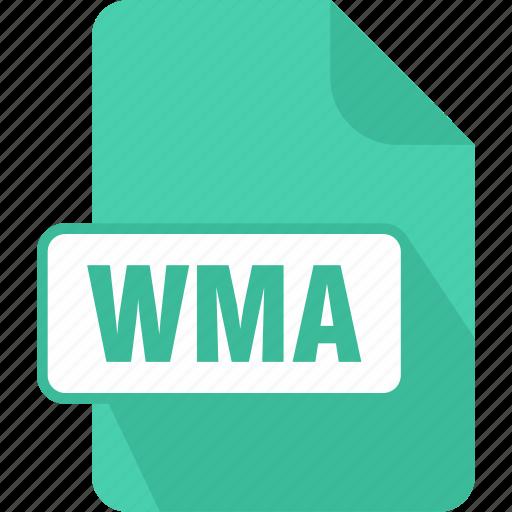 audio, extension, file, music, type, windows media audio file, wma icon
