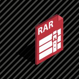 archive, document, download, file, graphic, isometric, rar icon