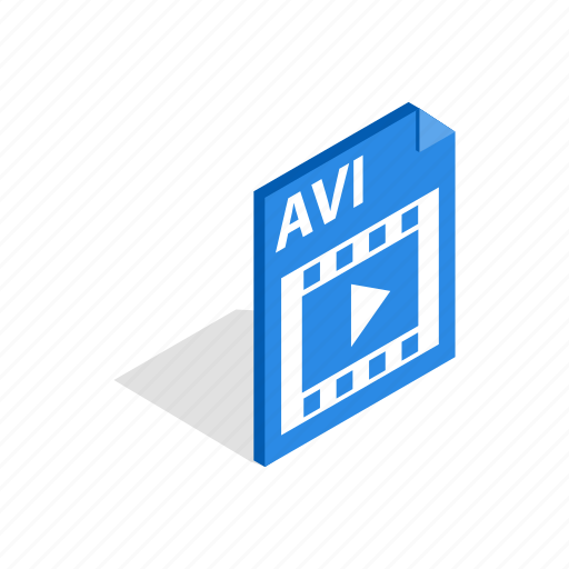 avi, file, film, format, internet, isometric, multimedia icon