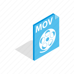 concept, download, extension, file, isometric, mov, video icon