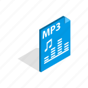 audio, element, file, internet, isometric, mp3, sound icon